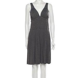 Marc Jacobs Grey Pleaded Sleeveless V-neck Dress